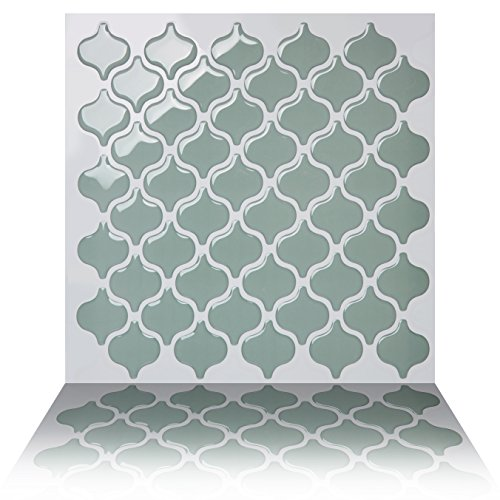 Tic Tac Tiles Anti-mold Peel Stick Wall Tile in Damask Jade (10 Tiles) by Tic Tac Tiles