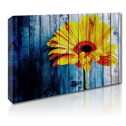 Flower Canvas Wall Art Framed Canvas Painting Stretched Artwork Yellow Daisy Picture for Bathroom Bedroom Walls Decoration 16