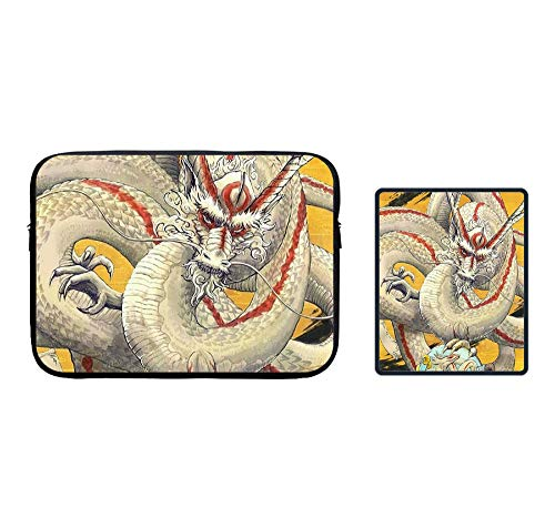 Zipper Sleeve Case for 115 inch MacBook Air Pro Anti-Scratch Microfiber Laptop Bag Dual Pocket with Locking Edge Mouse Pad Tradition Chinese Dragon Yellow