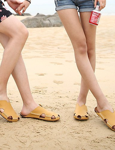 Flat Casual Shoes Heel Flip White Leather Slippers Red Women's Slippers ShangYi Flops White Comfort Outdoor Yellow qtRx1P5w