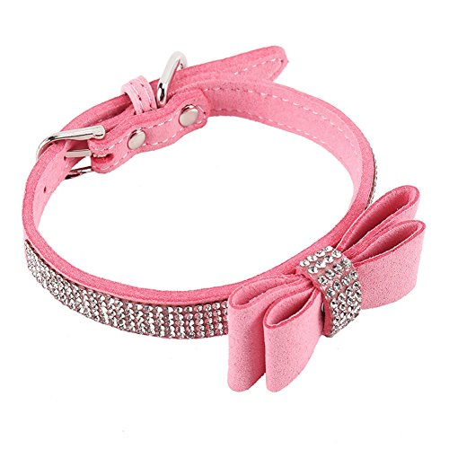 Amyove Dog Collar with Leather Rhinestone and Soft Bow Tie Design for Cat Puppy Small Pet
