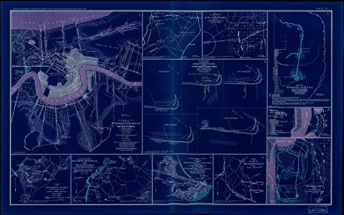18 x 24 Blueprint Style Reproduced Old Map of: 1880-1901Pl. XC: New Orleans, Atlanta (GA) Spanish Fort (AL), Paulding County, New Hope Church (GA), Savannah (GA), Mechanicsville (VA) by United - Al Fort Spanish