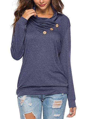 KISSMODA Blue T-Shirt for Women Fashion Cowl Neck Ladies Blouse Button Up Shirts Navy Blue Large ()