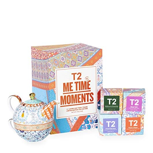 T2 Tea- Tea and Teaware Giftpack: Me Time Moments: Fine Bone China Tea for One with 4 Mini Limited Edition Loose Leaf…