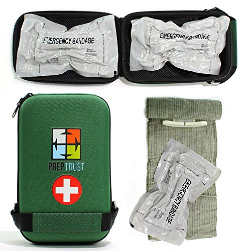 Price comparison product image Prep Trust Emergency First Aid Israeli Battle Dressing Compression Bandage, (Two 6 Inch bandages with Case-Green)