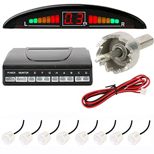ECLEAR Car Parking Sensor Kit, 8 Reversing Radar with LED Display System - White