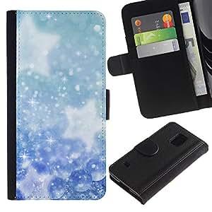 A-type (Invierno Copos de nieve Estrellas) Colorida Impresión Funda Cuero Monedero Caja Bolsa Cubierta Caja Piel Card Slots Para Samsung Galaxy S5 V SM-G900