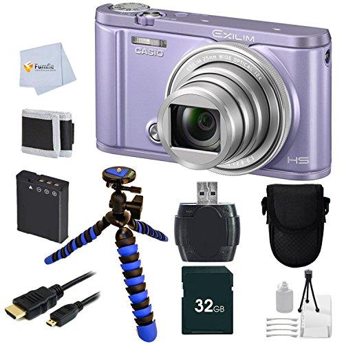 "Casio Exilim EX-ZR3600 EX-ZR3600VT Selfie Digital Camera (Violet) + 12"" Flexible Gripster Tripod + 32GB Memory + Reader + Camera Case + Micro HDMI + Bonus Fumfie Powerbank Keychain & More -  C3600"