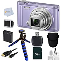 Casio Exilim EX-ZR3600 EX-ZR3600VT Selfie Digital Camera (Violet) + 12 Flexible Gripster Tripod + 32GB Memory + Reader + Camera Case + Micro HDMI + Bonus Fumfie Powerbank Keychain & More