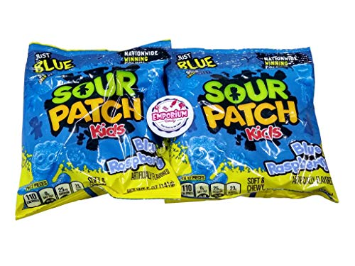 Sour Patch Kids Blue Raspberry - Two 5 ounce luggage of Fresh Delicious Chewy Candy with Refrigerator Magnet