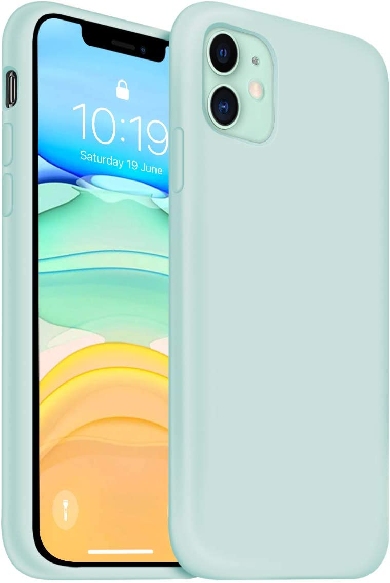 OUXUL iPhone 11 Case,iPhone 11 Liquid Silicone Gel Rubber Phone Case,Compatible with iPhone 11 Case Cover 6.1 Inch Full Body Slim Soft Microfiber Lining Protective Case (Light Mint)
