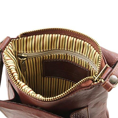 Tuscany Leather Sasha - Bolso unisex en piel suave Cognac Bolsos en piel Marrón