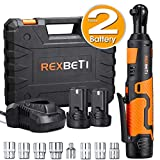 REXBETI Cordless 3/8' Electric Ratchet Wrench Set with Double 12V Lithium-Ion Battery,1 Quick Charger Kit, 7-piece 3/8' Metric Sockets and 1-piece 1/4' Socket Adapter, 38ft-lbs of Maximum Torque