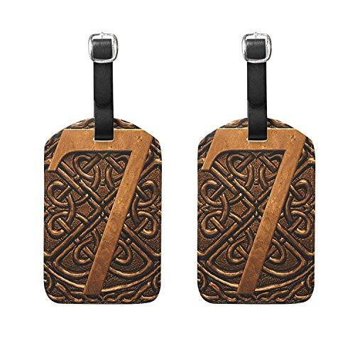 Set of 2 Luggage Tags Vintage 3D Digital 7 Suitcase Labels T