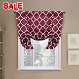 Printed Blackout Room Darkening Rod Pocket Curtain - Window Panel Drapes 1 Panel, 42 inches wide by 63 inches long (Burgundy Red) - Decorative Curtains by H.Versailtex