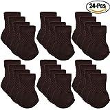 Chair Socks, Outgeek 24 Pcs Knitted Furniture Feet Socks Chair Leg Floor Protectors (Brown)