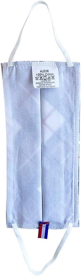 Imprim/é Ecossais Ecru//Beige Protection Visage Tissu Lavable Coton Doux 100/% Par Lot de Deux Pi/èces
