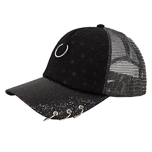 Surkat Unisex Sparkle Sequins Sheer Mesh Baseball Cap Adjustable Snapback Baseball Hat Sunhat(Black)