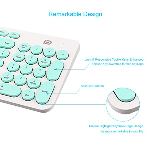 Wireless Keyboard and Mouse Combo, FD iK6630 2.4GHz Cordless Cute Round Key Set Smart Power-Saving Whisper-Quiet Slim Combo for Laptop, Computer,TV and Mac (Mint Green & White) by FD (Image #2)