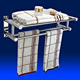 tinxs Silver Stainless Steel Wall Mounted Bathroom Double Towel Holder Shelf Storage Rail Rack