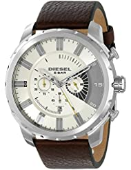 Diesel Mens DZ4346 Stronghold Stainless Steel Brown Leather Watch