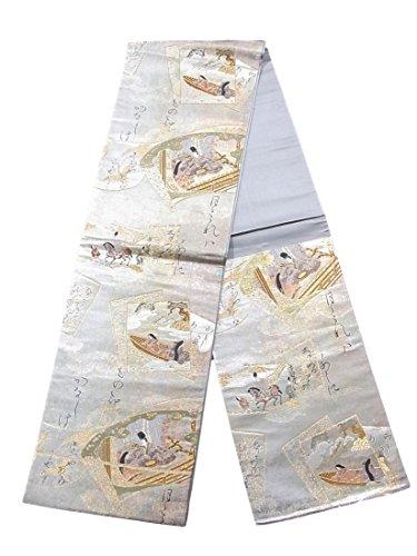 大工仮定ペナルティリサイクル 袋帯 和歌に源氏絵巻文 正絹 六通