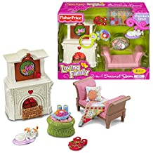 Fisher Price Year 2010 Loving Family Dollhouse Premium Decor Furniture Accessory Set : 2-in-1 SEASONAL ROOM with Couch, Coffee Table, Reversible Pillow and Throw, 2 Food Trays, Cat with Kitten Plus Fireplace with Lights and Sounds by Loving Family
