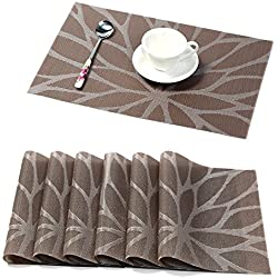 HEBE Placemats for Dining Table Set of 6 Durable Woven Vinyl Kitchen Table Mats Washable Heat Resistant Stain-Resistant Non Slip Placemat Easy to Clean(6, Brown)