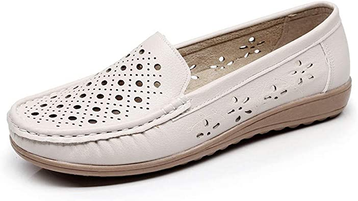 Women's White Leather Shoes Cow Sinew