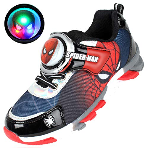 Joah Store Boy's Spider-Man Light Up Sneakers Red Black Silver Anti-Slip Shoes (Toddler/Little Kid) (12 M US Little Kid, Spider-Man_A)