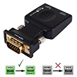 FineSource® (VGA Male to HDMI Female) 1080P VGA to HDMI Converter Adapter Box Audio Port VGA Extension Cable Mini USB Power Cable 3.5mm Audio Cable Included