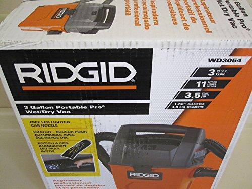 Ridgid 3 Gallon Wet/Dry Vac with Bonus LED Lighted Car Clean