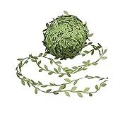 Gnognauq 87 Yards Olive Leaf Vine Ribbon,Green Leaf Trim Ribbon, Leaf Balloon Tail for Ribbon Craft Sewing DIY Wedding Bouquet, DIY Wedding Gift