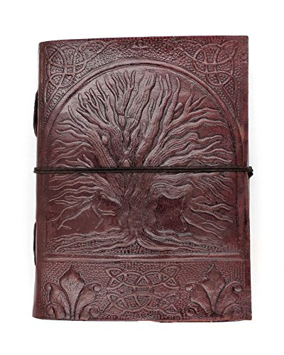 Chic & Zen - diario, agenda, blocchetto per appunti, Vera Pelle, Vintage, Albero di Vita, 13 cm x 17 cm, carta premium Kooly Zen T301