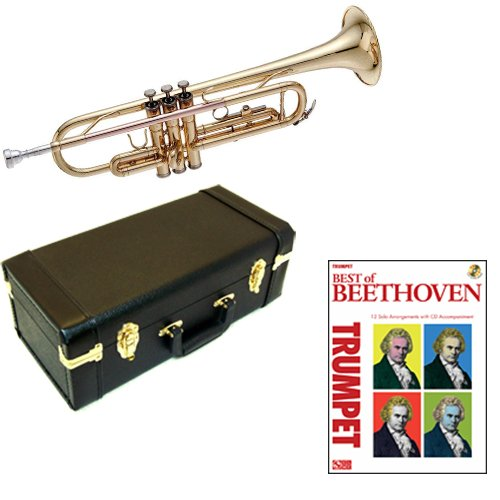 Best of Beethoven Bb Student Trumpet Pack - Includes Trumpet w/Case & Accessories & Best of Beethoven Play Along Book by Trumpet Play Along Packs