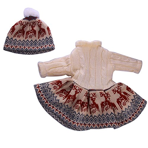 Theshy Cute Sweater Outfit Reindeer Snowman Sweater & Cap for 18'' American Girl Doll Toys Doll Clothes for American ()