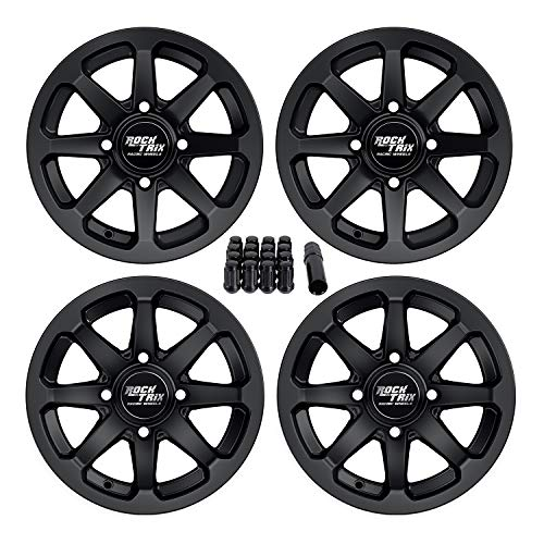 RockTrix RT102 12in ATV Wheels 4x110 Rims | 12x7 | 5+2 F and 2+5 R Offset | Includes 10x1.25 Spline Lug Nuts - Works with SRA Honda Foreman 400 450 500, Rancher 350 400 420 Solid Rear Axle - Set of 4