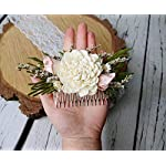 Ivory-Blush-Pink-Green-Cypress-Hair-Comb-Sola-Flower-Burlap-Dried-Flowers-Bridal-Accessory