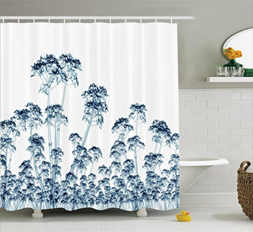 Ambesonne Xray Flower Decor Collection, X-ray Photo of a Tropical Forest Exotic Trees Plants Nature Negative Art Print, Polyester Fabric Bathroom Shower Curtain Set with Hooks, Teal White