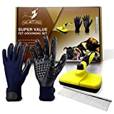3 in 1 Pet Grooming Set,Self Cleaning Slicker Brush,Pet Comb and 1 Pair Pet grooming Gloves-Right & Left Hands,Anti Shedding Pet Hair Remover for Dogs & Cats,Deshedding Fur,Long & Short Hair,Undercoat