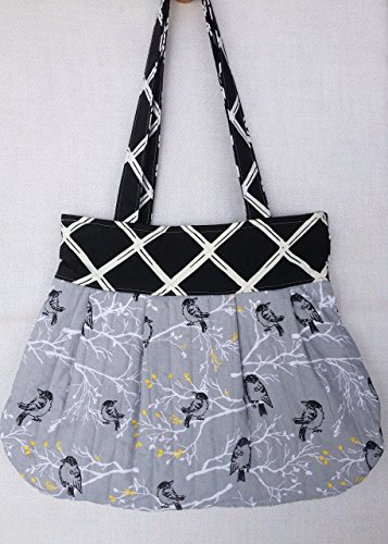 Reversible Pleated Tote Bird Theme, Quilted Cotton Bird Fabric, Pleated Purse, Bird Lover Gift, Optional Matching Cell Phone Wallet - Pleated Handbag Purse