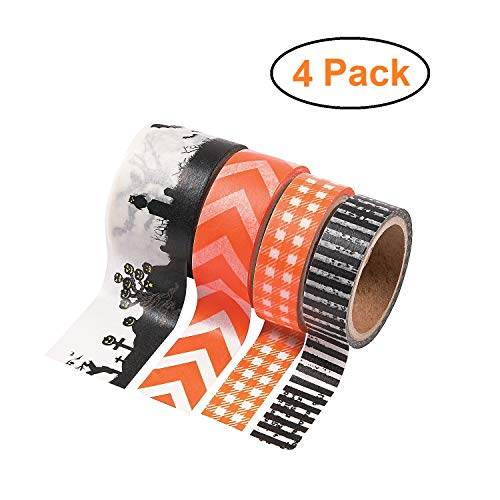 Spooky Halloween Crafts Adults (Spooky Halloween Washi Tape Set, 4 Rolls, Fall Theme Patterned Masking Tape Decorations, Halloween Decor Supplies for Walls/Signs, Crafts Activity for Kids and Adults, Assorted Colors and)