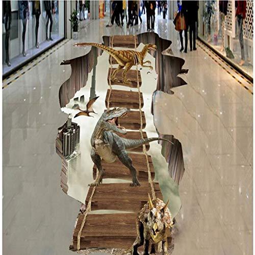 Mznm 3D Three-Dimensional Paste in The Air Floating Ladder Dinosaur 3D Floor Tiles PVC Thick Wear-Resistant Waterproof-120X100Cm