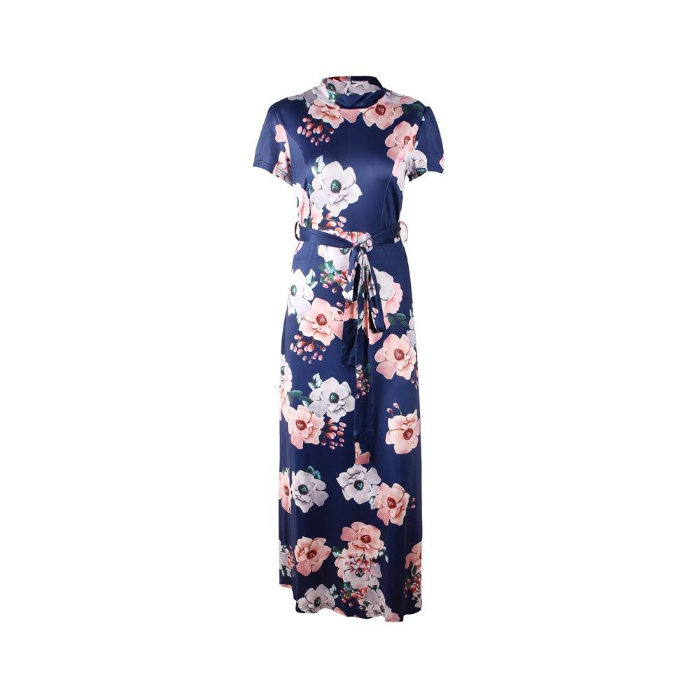 Hirate Women's Short Sleeve Robes Casual Loose Turtleneck Long Dress Printed Floral Dress tie Waist Style Long Skirt (Navy Blue, 5XL)