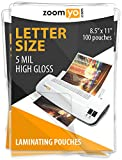zoomyo Laminating Sheets | Letter Size 8.9 x 11.4 inches | 5 mil | Gloss | 100 pouches per pack
