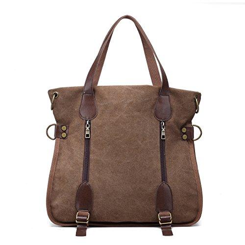 lkklily-vintage bolso bolsa de hombro bolso de mano bolso de mano Fashion all-match bolsa de lona Crossbody, azul marrón