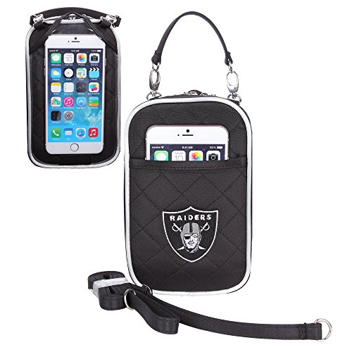 Charm14 NFL Oakland Raiders Women's Crossbody Bag Quilt-Embroidered Logo-Fits All Phones by Little - Earth Little Womens Handbag