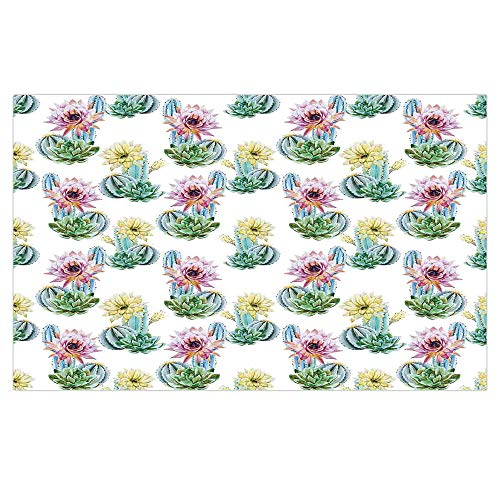 iPrint 3D Floor/Wall Sticker Removable,Cactus Decor,Hot Desert South Mexican Vintage Plant Cactus Flowers with Spikes,Pink Green and Blue,for Living Room Bathroom Decoration,35.4x23.6