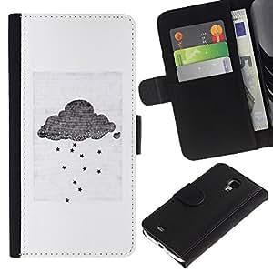 All Phone Most Case / Oferta Especial Cáscara Funda de cuero Monedero Cubierta de proteccion Caso / Wallet Case for Samsung Galaxy S4 Mini i9190 // Cloud Gray White Small Sad Emo