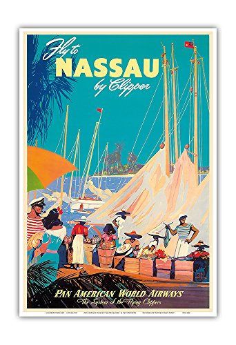 Fly to Nassau by Clipper - New Providence Island, The Bahamas - Pan American World Airways (PAA) - Vintage Airline Travel Poster by Mark Von Arenburg c.1950s - Master Art ()